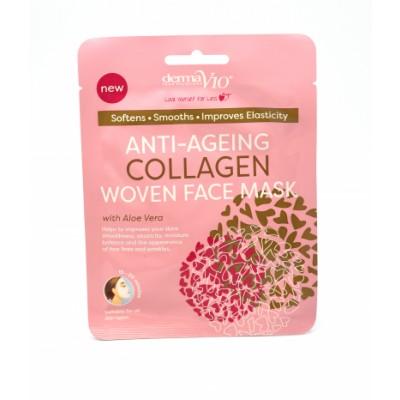 DermaV10 Anti-Ageing Collagen Woven Face Mask 1 stk